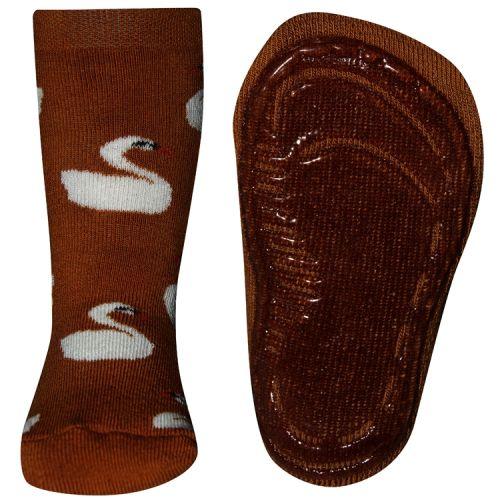 Antislip sokken met zwanen oranje/bruin