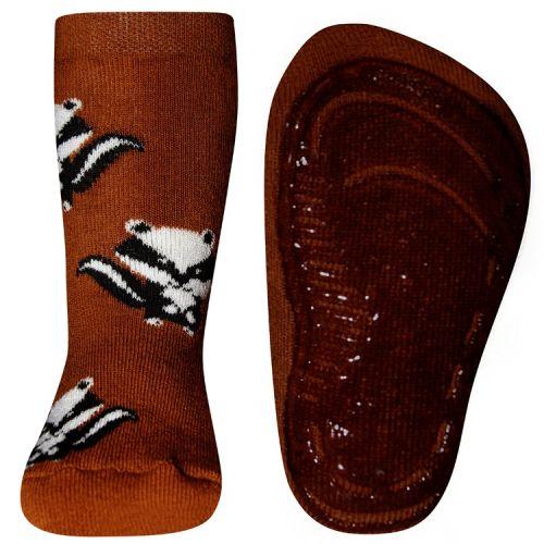 Antislip sokken met dassen oranje/bruin