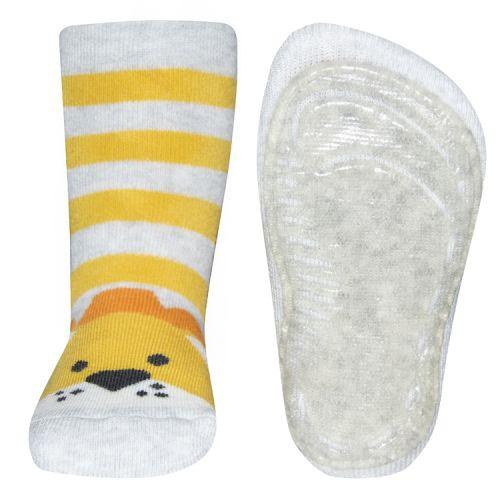 Antislip sokken leeuw lichtgrijs/geel gestreept
