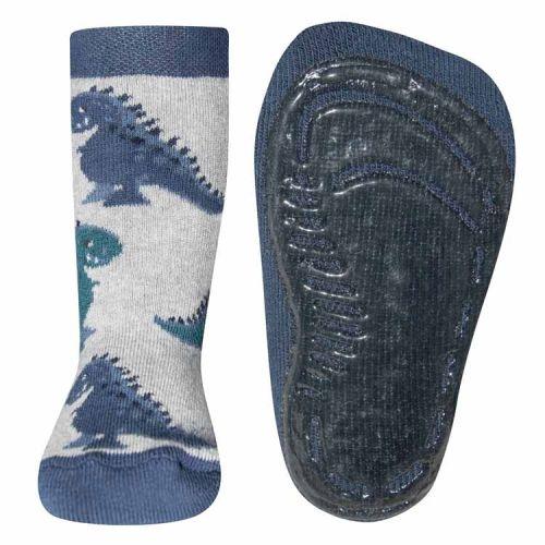 Antislip sokken met dinosaurussen lichtgrijs