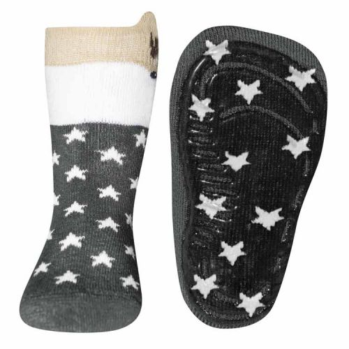 Antislip sokken met reetje en sterren grijs
