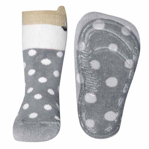Antislip sokken vosje en stippen lichtgrijs