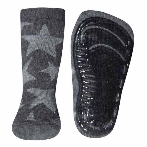 Antislip sokken grijs met lichtgrijze sterren