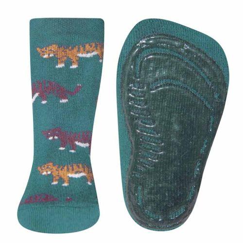 Antislip sokken met tijgers zeegroen