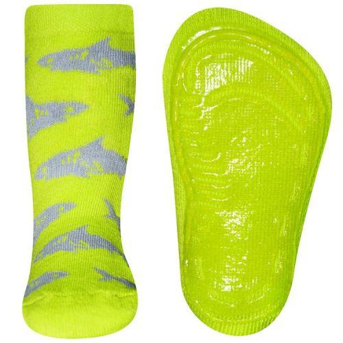 Antislipsok fluoriserend geel/groen met haaien