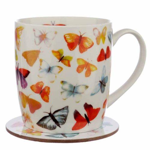 Beker met onderzetter Vlinders