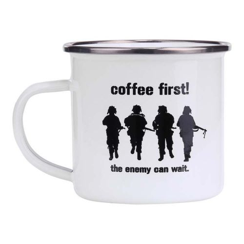 Emaille beker soldaten wit - Coffee First!