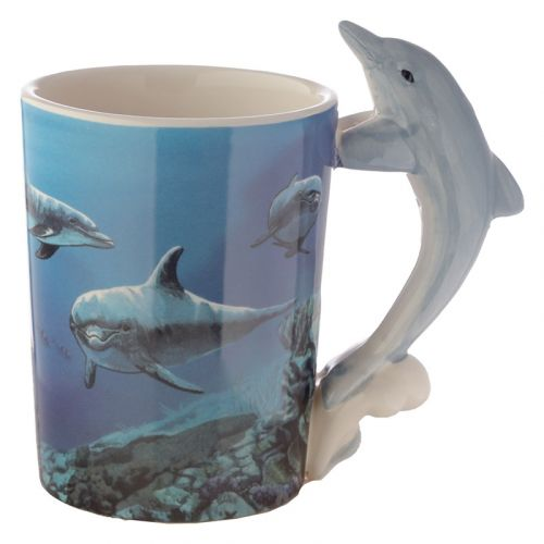 Beker met dolfijn handvat