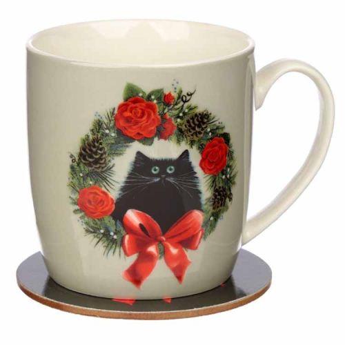 Kerstbeker met onderzetter Kim Haskins zwarte kat