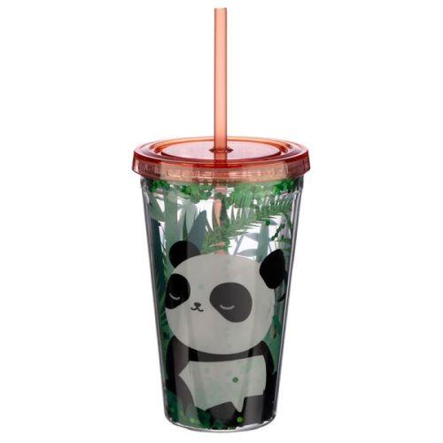 Beker met rietje en deksel Panda
