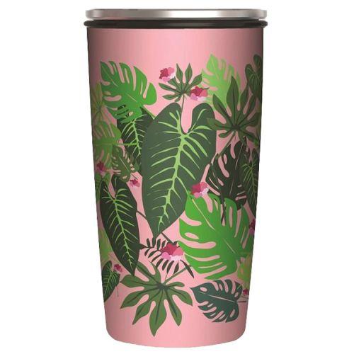 Veelzijdige RVS thermobeker en/of lunchpot - Bladeren - Pink Jungle - 420ml