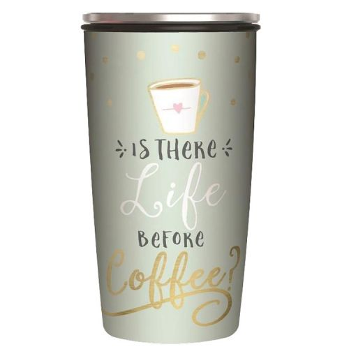 Veelzijdige RVS thermobeker en/of lunchpot - Is there life before coffee - 420ml
