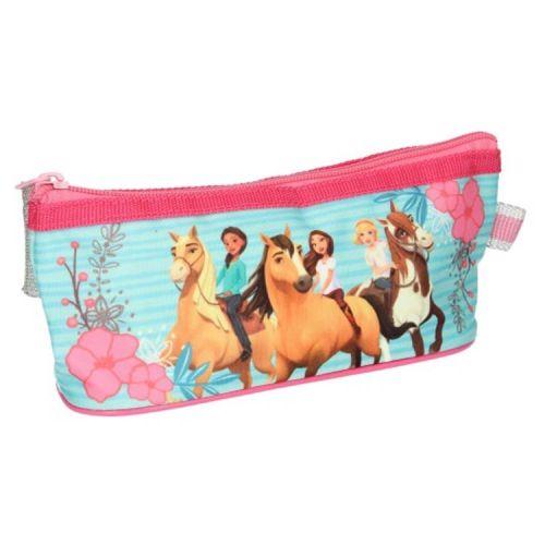 Etui paarden - Spirit Riding Free - lichtblauw met roze 23x9x7 cm