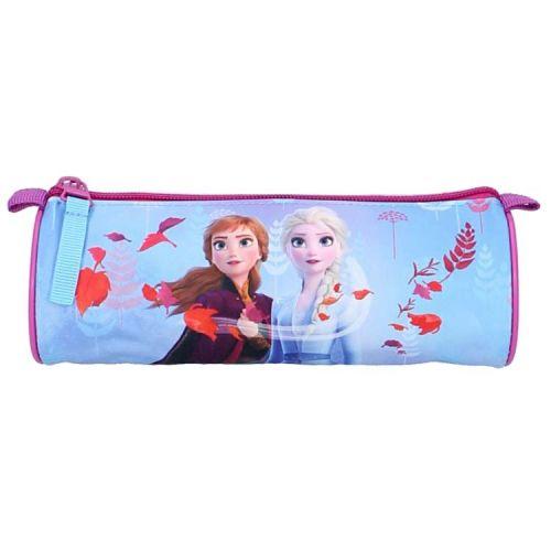 Etui Frozen Anna en Elsa lila/lichtblauw rond 20x7,5 cm