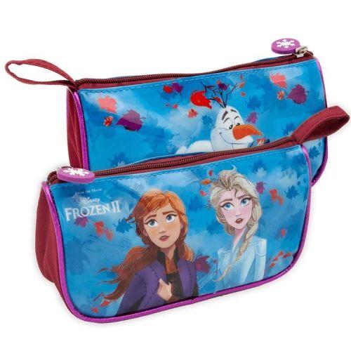 Etui Frozen Anna, Elsa en Olaf blauw/paars met glitterrandje 21x11x6,5 cm