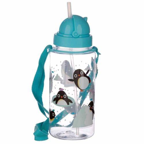 Drinkfles met rietje 450ml - Pinguïns