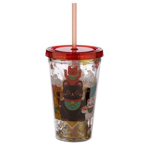 Drinkbeker met rietje - Maneki Neko Gelukskat