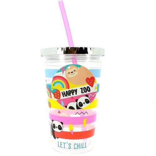 Drinkbeker met rietje 500 ml - Happy Zoo