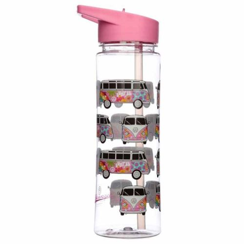 Waterfles 550ml - Volkswagen T1 kampeerbusjes roze