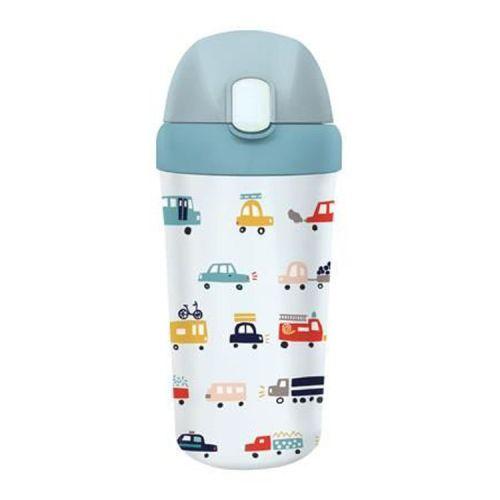 PLA/plant bioloco beker met rietje voor kinderen 400ml - met auto's
