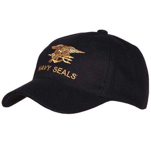 Baseballcap Navy Seals - Zwart met goud geborduurd logo