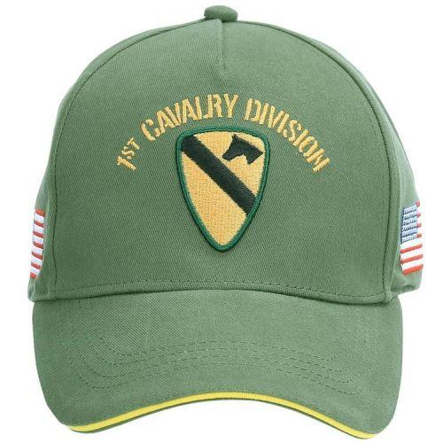 Baseballcap US 1st Cavalry Division - Groen met Geel logo