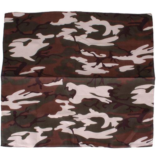 Bandana/Doek Camouflage gr/w/br/zw 50x50