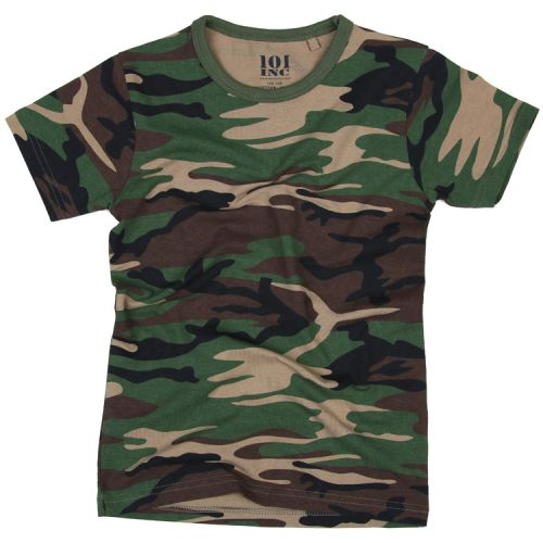 T-shirt camouflage groen/woodland kind