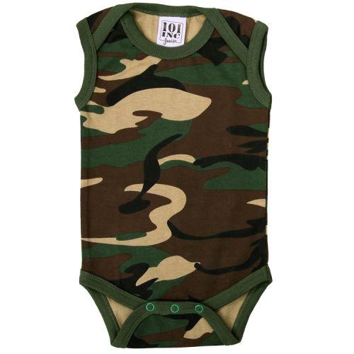 Romper Baby camouflage groen/woodland zonder mouw