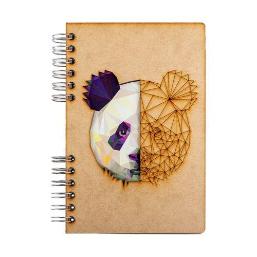Notebook MDF 3d kaft A6 gelinieerd - Panda
