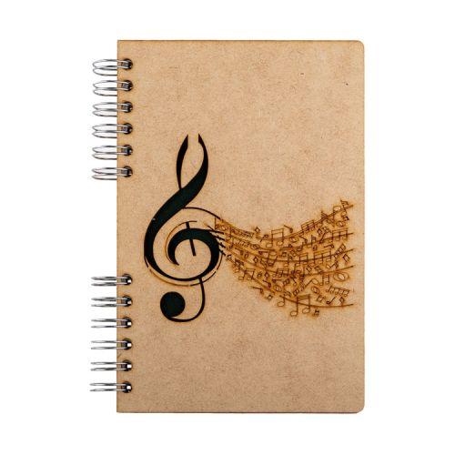 Notebook MDF 3d kaft A6 blanco - Muziek
