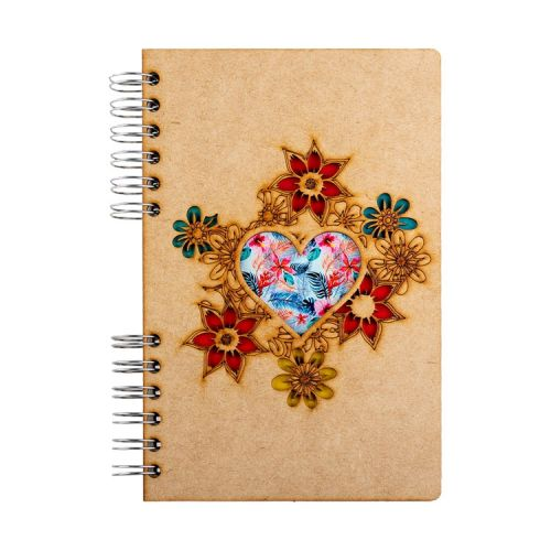 Notebook MDF 3d kaft A6 gelinieerd - Hartje