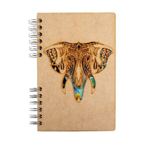 Notebook MDF 3d kaft A6 gelinieerd - Olifant