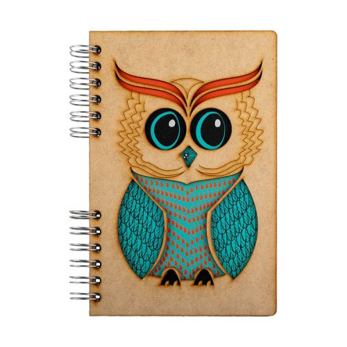 Notebook MDF 3d kaft A6 gelinieerd - Wijze uil