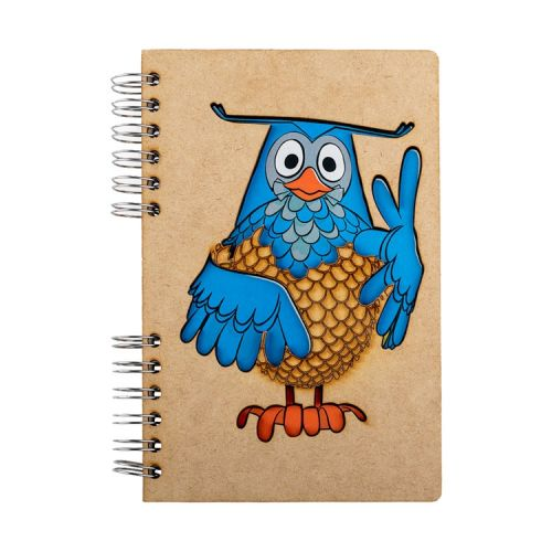 Notebook MDF 3d kaft A6 gelinieerd - Meneer de uil