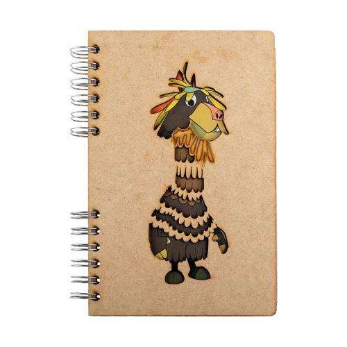 Notebook MDF 3d kaft A6 gelinieerd - Chico Lama