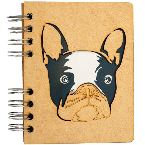 Notebook MDF 3d kaft A6 gelinieerd - Franse Buldog