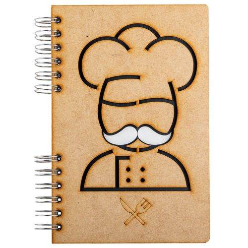 Notebook MDF 3d kaft A6 gelinieerd - Chef