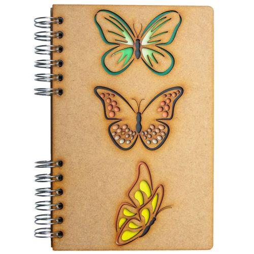 Notebook MDF 3d kaft A6 gelinieerd - Vlinders