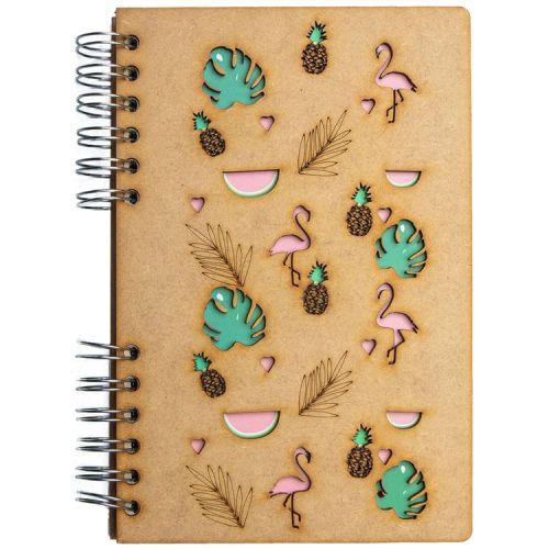 Notebook MDF 3d kaft A6 blanco- Tropische flamingo