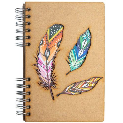 Notebook MDF 3d kaft A6 gelinieerd - Veren
