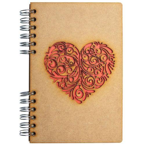 Notebook MDF 3d kaft A6 gelinieerd - Rood hart