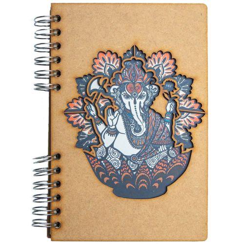 Notebook MDF 3d kaft A6 gelinieerd - Ganesha