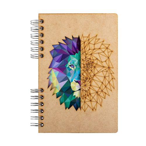 Notebook MDF 3d kaft A5 gelinieerd - Leeuw