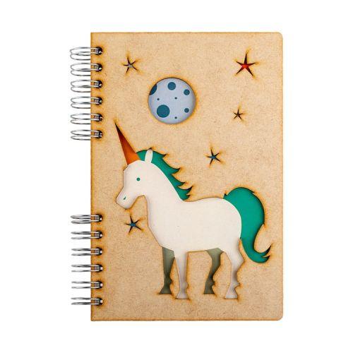 Notebook MDF 3d kaft A5 gelinieerd - Eenhoorn