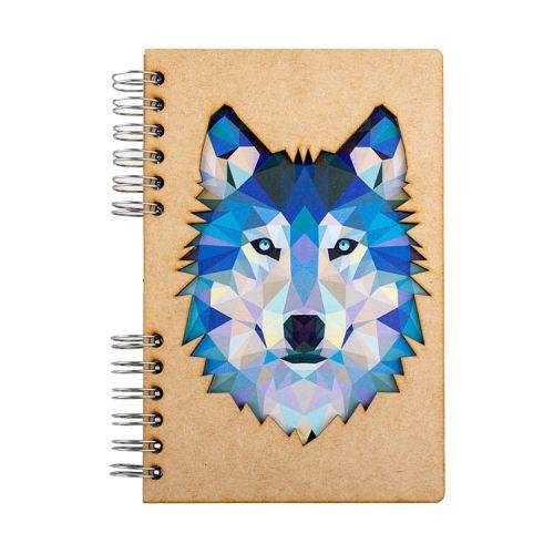 Notebook MDF 3d kaft A5 gelinieerd - Wolf