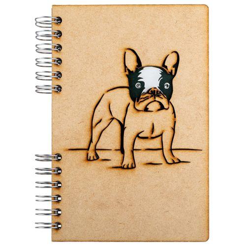 Notebook MDF 3d kaft A5 blanco - Franse Bulldog
