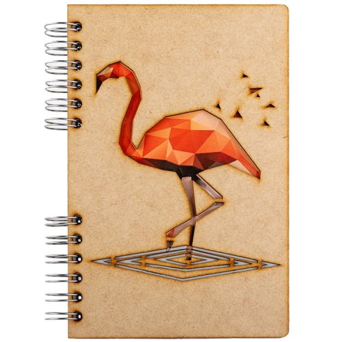 Notebook MDF 3d kaft A5 gelinieerd - Flamingo