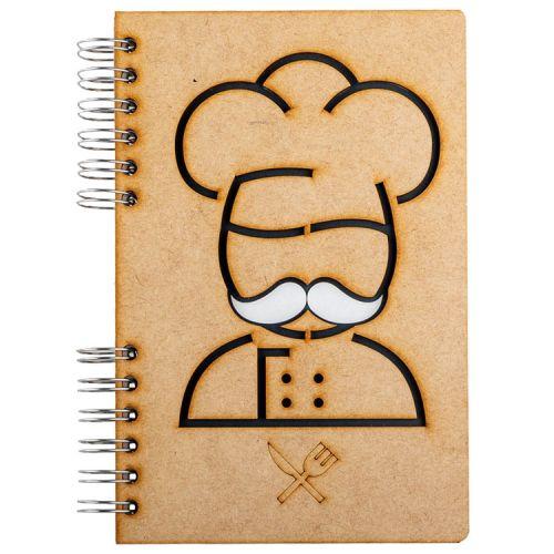 Notebook MDF 3d kaft A5 gelinieerd - Chef