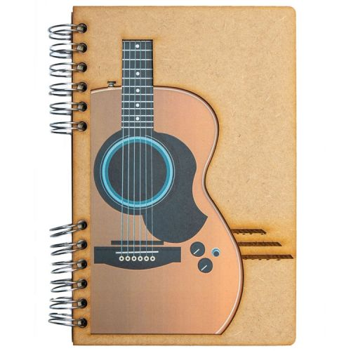 Notebook MDF 3d kaft A5 blanco - Gitaar